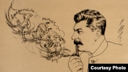 Сталин сүйүктүү мүштөгү менен. Виктор Денинин графикалык сүрөтү. 1930