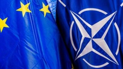 Zastave Evropek unije i NATO-a.