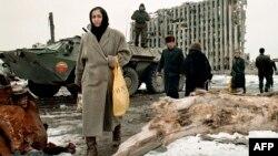 Бірінші шешен соғысы кезіндегі Грозный қаласы. Желтоқсан, 1996 жыл. (Көрнекі сурет).