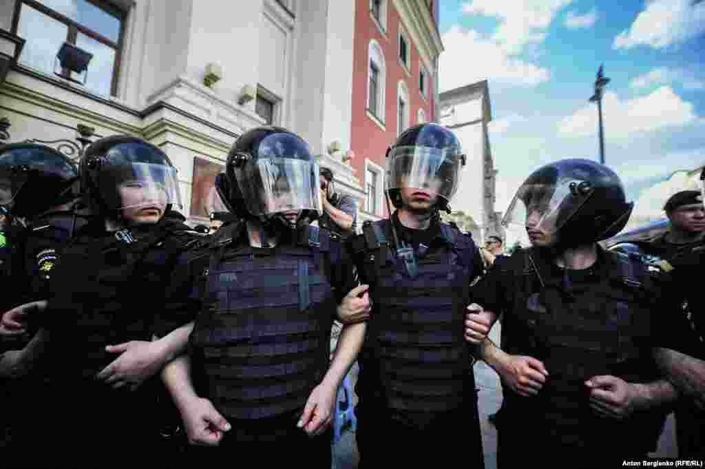 There was a huge police presence on the streets of Moscow before the planned protest, which had not been sanctioned by authorities.