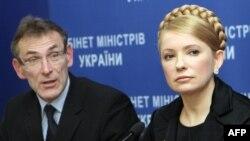 Украина премьер-министрі Юлия Тимошенко мен ЕО-тың энергия комиссары Андрис Пибалгс баспасөз-мәслихатында. Киев. 20 қаңтар, 2009 жыл.