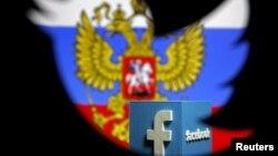 На иллюстрации — трехмерный логотип Facebook'a на фоне российских государственных символов в разрезе логотипа Twitter'a.