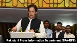 Kabul was angered by statements made by Pakistani Prime Minister Imran Khan, in which he suggested that Afghanistan should set up an interim government. (file photo)