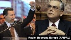 Премиерите на Македонија и на Грција, Никола Груевски и Лукас Пападимос.