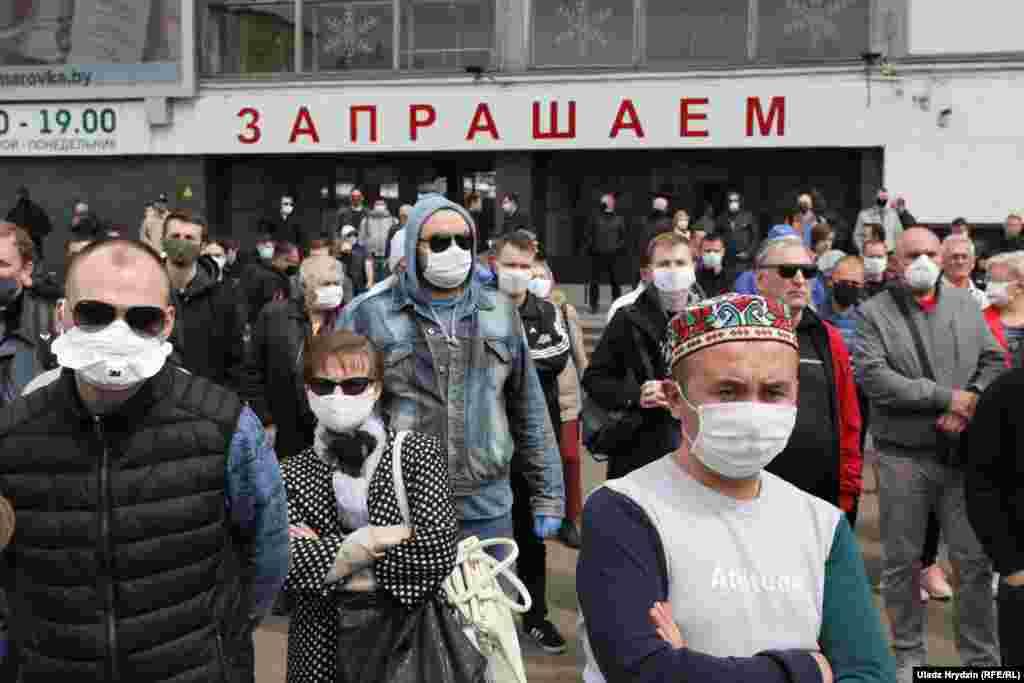 Протестующие собрались 24 мая возле Комаровского рынка в Минске