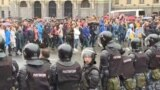 Russia - security forces/ riot police at sanctioned protest in Moscow - screen grab demonstration rally opposition