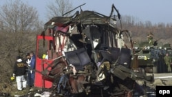 Wreckage of the bus carrying the Serbian pilgrims, after the 2001 bombing