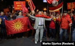 Protesters in favor of boycotting the referendum rallied in Skopje on September 30.