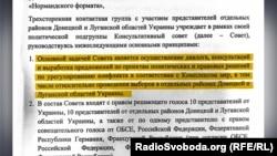 Фрагмент протоколу засідання у Мінську