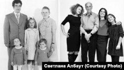 Семья Албаут, 1977 г. (слева). Натан Фарб, Светлана и её дочери (справа)