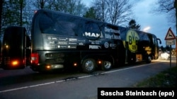 The team bus of Borussia Dortmund is seen following the attack on April 11.