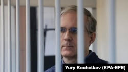 Paul Whelan attends a court hearing in Moscow in October 2019.