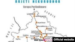 Mapa železničkih linija na Kosovu
