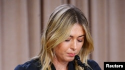Tennis star Maria Sharapova announcing she failed a drug test after the Australian Open at a press conference on March 7.