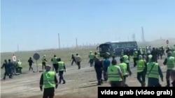 Конфликт на месторождении Тенгиз, Атырауская область. Скриншот.