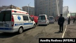 Azerbaijan -- fire in a multi-storey residential building in Baku - 19May2015