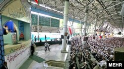 Supreme Leader Ayatollah Ali Khamenei leading Friday Prayers at Tehran University on June 19, where he called for protests to end.