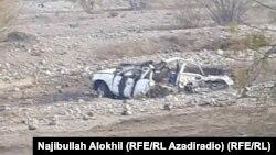 Уништеното возило во експлозијата во Хост.