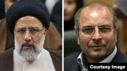 محمد باقر قالیباف (راست) و ابراهیم رئیسی، نامزدهای اصلی اصولگرایان در انتخابات ریاستجمهوری دوازدهم.