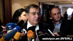 Armenia -- Energy Minister Levon Yolian speaks to journalsits in Yerevan, 14Mar2016