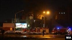 Пожар во зградата на Македонски пошти во центарот на Скопје.