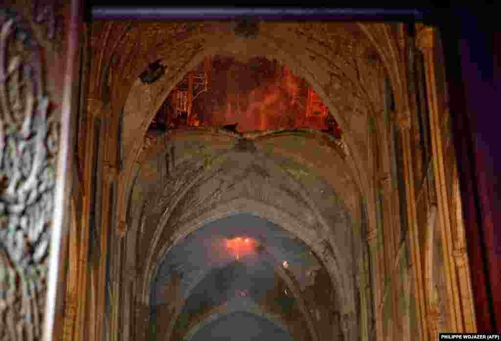A view from the interior as the cathedral continued to burn on April 15, 2019.