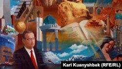 Uzbekistan - Portrait of Islam Karimov at the wall of the museum Aksak Temir. Tashkent, 25Aug2012.
