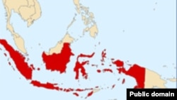 Индонезияның картасы (қызылмен белгіленген) Көрнекі сурет.