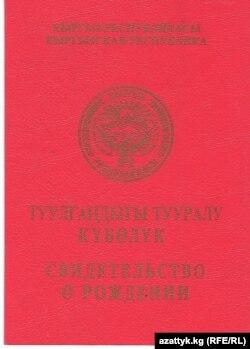 """Кыргызстандагы """"Туулгандыгы тууралуу күбөлүктүн"""" мукабасы. 2015."""