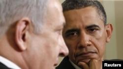 Израиль премьері Биньямин Нетаняху мен АҚШ президенті Барак Обама Ақ үйде кездесіп отыр. 20 мамыр. 2011