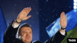Viktor Yanukovych celebrates his election as president on February 5.