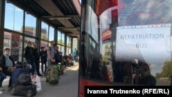 Un autobus pentru ucrainenii care se întorc acasă de la Praga, 16 aprilie 2020