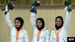 بازیهای اینچئون. از چپ به راست: نجمه خدمتی، نرجس امامقلینژاد، الهه احمدی. ۲۲ سپتامبر ۲۰۱۴.