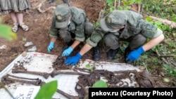 Раскопки на месте концлагеря в Моглино, Псковская область