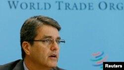 Генеральный директор Всемирной торговой организации Роберто Азеведо на представлении доклада ВТО в Женеве, 14 апреля 2014 года