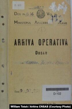 Coperta dosarului din arhiva CNSAS