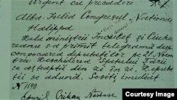 Telegrama de rechemare a lui P. Halippa de la Alba Iulia (Foto: I. Țurcanu, M. Papuc, Basarabia în actul Marii Uniri de la 1918)