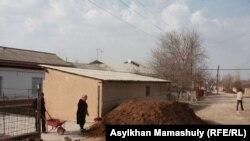 Жители села в Жартытобинском сельском округе перетаскивают удобренную почву с улицы в теплицу. 11 февраля 2015 года.