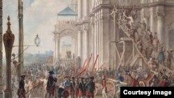 Екатерина II на балконе Зимнего дворца, приветствуемая гвардией и народом в день переворота 28 июня 1762 года. По оригиналу Иоахима Кестнера. 1760-е