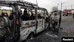 Դաղստանում ՃՈ ուղեկալի մոտ պայթեցված ավտոմեքենան, 15-ը փետրվարի, 2016թ.