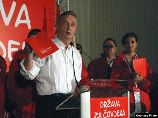Lider SDP BiH Zlatko Lagumdžija objavljuje izbornu pobjedu, Sarajevo. 3. oktobar 2010