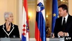 Premijeri Hrvatske i Slovenije Jadranka Kosor i Borut Pahor tokom susreta u Ljubljani, rujan 2009.