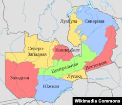 Административная карта Замбии