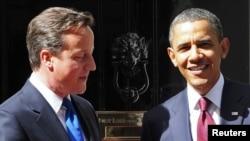 Premierul britanic David Cameron și președintele Barack Obama la 10 Downing Street la Londra