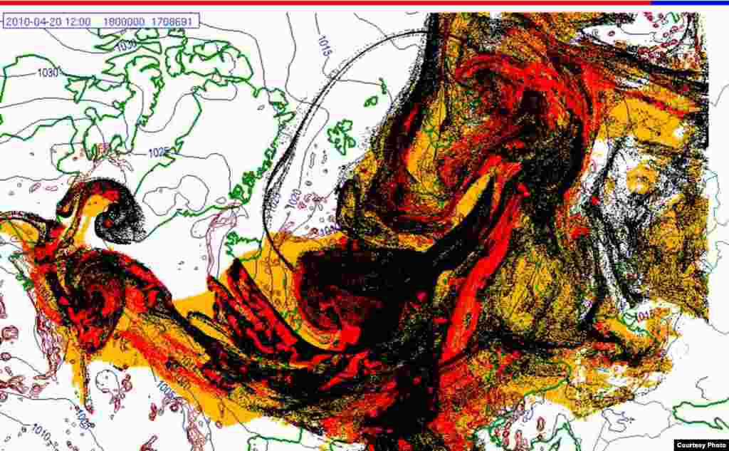 Projected spread of Icelandic ash cloud (20.4. 1200 UTC) - These images show a projection of the movement of the ash clouds from the Iceland volcanic eruption moving over Europe. The colors on the map represent: yellow: ash that has fallen by itself red: ash that has fallen by precipitation black: the actual ash cloud Source: Norwegian Meteorological Institute