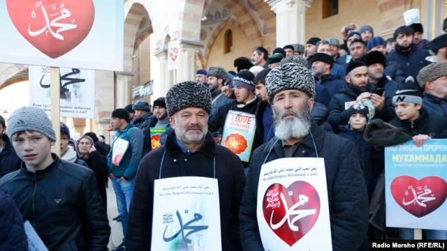 Митинг в поддержку пророка Мухаммеда в Грозном, 19 января 2015 года