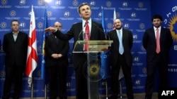 Georgian Prime Minister-designate Bidzina Ivanishvili speaks at a news conference where he presented his new new government, Tbilisi, 16Oct2012