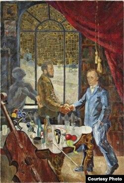 Комар и Меламид. Встреча Солженицына и Белля на даче у Ростроповича, 1972