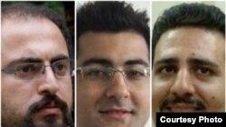 سه فعال دانشجویی بازداشتشده؛ از چپ: علیرضا کیانی، محسن برزگر و علی قلیزاده