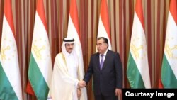 Tajik President Emomali Rahmon met head of Izdan holding Sheikh Khalid al-Sani, Dushanbe, 18.09.2014 Photo from president.tj
